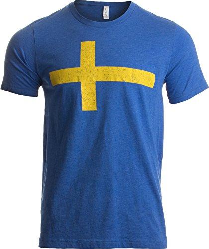Three Crowns Soccer T-shirt - Swedish Flag | Vintage Style, Retro-Feel Sweden Flag & Kronor Unisex T-shirt-Adult,XL Heathered Royal