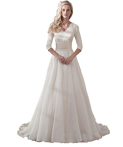 Mingxuerong Hochzeitskleid Lang Spitzelangarm Mit schleppe ...