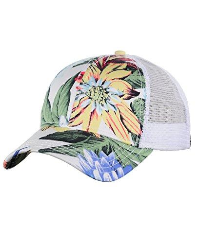 C.C Floral Print Front Panel Mesh Back Adjustable Precurved Baseball Cap Hat