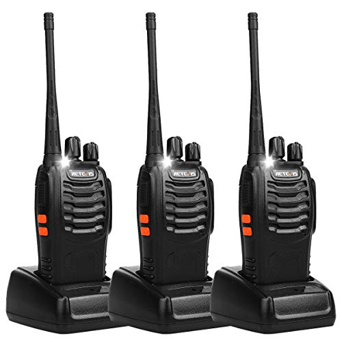 Retevis H-777 Two Way Radios Long Range UHF Rechargeable 16CH CTCSS/DCS Flashlight Walkie Talkies with USB Charger (3 Pack) (Floor Radio)