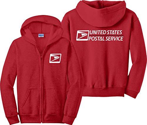 USPS Zip Up Hoodie United States Postal Services US Post Office Zip-Up Sweatshirt Red