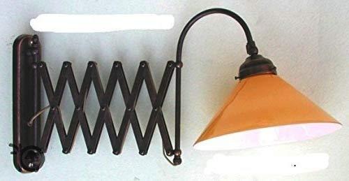 Lampada da parete interno esterno in ottone a pantografo vetro
