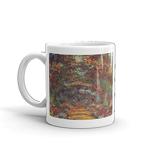 Claude Monet's The Rose Walk, Giverny, 1920-22 0046 - Glossy White Ceramic Mug (11 - Museum Monet Giverny