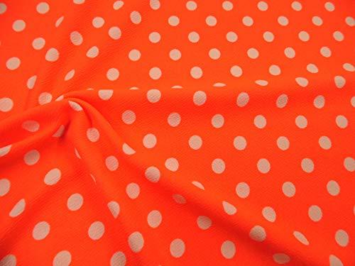 Printed Liverpool Textured 4 Way Stretch Fabric Small White Polka Dot Neon Orange G303 ()