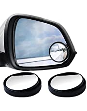 SUMAJU 2 Pcs Blind Spot Mirrors, 360°Rotate Round HD Glass Adjustable Automotive Stick-on Convex Side View Spot Mirror for Universal Cars(Black)