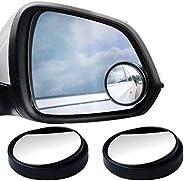 SUMAJU 2 Pcs Blind Spot Mirrors, 360°Rotate Round HD Glass Adjustable Automotive Stick-on Convex Side View Spo