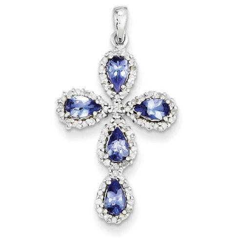 Icecarats Créatrice De Bijoux 14K Diamant Or Blanc Tanzanite Pendentif Croix