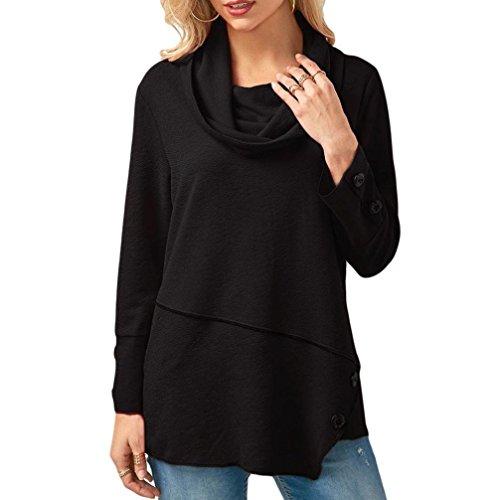 Women's Plus Size T-Shirt Long Sleeve Asymmetric Hem Cowl Neck Blouse Fashion Loose Top Pullover by SanCanSn (Black,L) ()