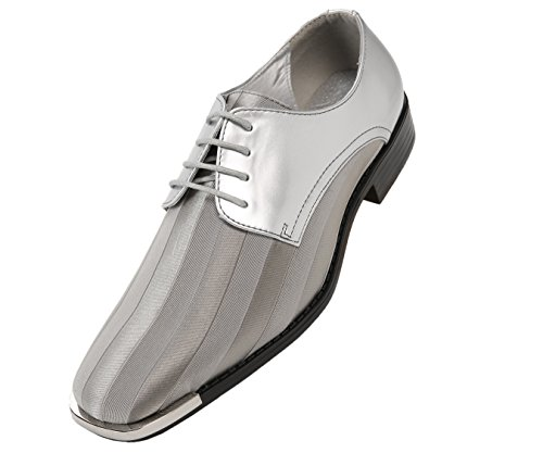 Viotti Men's Formal Oxford Dress Shoe Striped Satin and Patent Tuxedo Classic Lace up with Or Without Tip Style 179/5205 Grey/Metal-tip cheap outlet store FME9BZoD