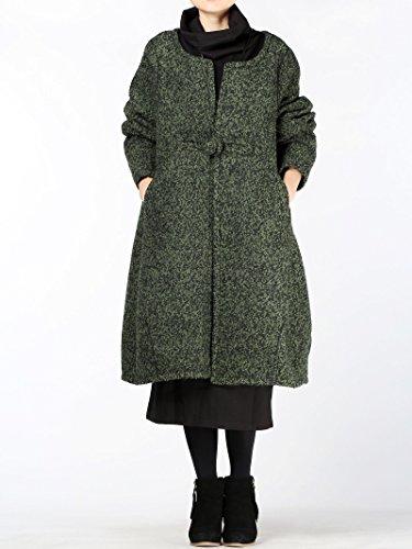 Bouton Lâche 1 De Long Style Laine Femme Nouveau vert Pardessus Foncé Manteau Vogstyle Hiver jAL4q35R