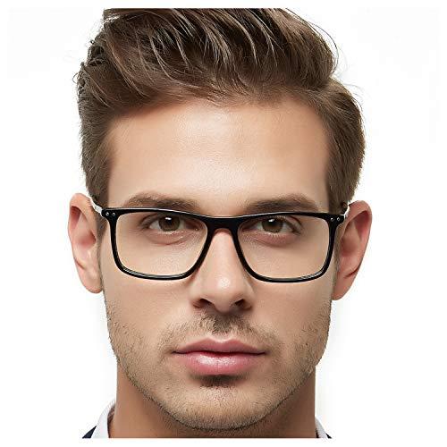 - OCCI CHIARI Optical Eyewear Non-prescription Fashion Glasses Eyeglasses Frame with Clear Lenses for Men Blue Light Blocking (B-Black+Brown)