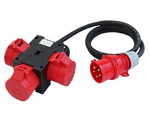 CEE Adapter Stromverteiler CEE 32A 400V - 3 x 32 A Baustromverteiler Verteiler kabel-licht