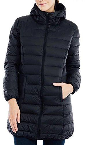Valuker Damen Daunenmantel mit 90% Entendaunen Mantel Mit Kapuze Daunen Parka Winter Jacke Lang Ultra Leicht(DE:46 / EU:3XL / US:2XL Schwarz)