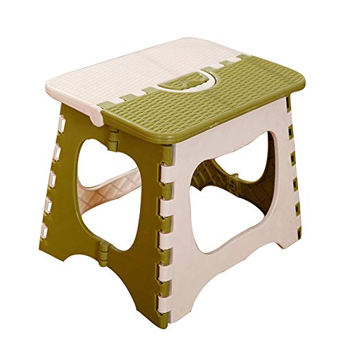 LOAZRE Thick Plastic Folding Step Stool, Bath Stool, Ottoman, Conpliant with Family, Travel, Fishing, Bathroom, etc.(White + Green) ()