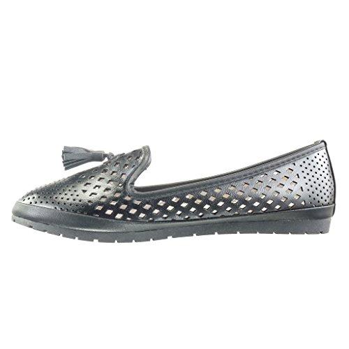 Angkorly - Chaussure Mode Mocassin slip-on femme perforée frange pom-pom Talon plat 2 CM - Noir
