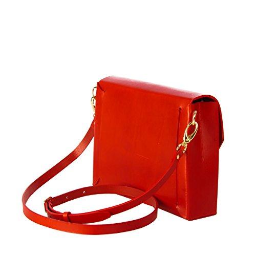 Rojo De Vaska Bolsa Curtido Vegetal Unique Cuero Ada Taille Hombro 7txqz6