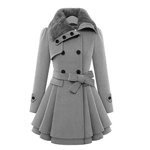 Women Long Sleeve Faux Fur A-line Pleated Pea Layers Hem Coat Wool Pea Coat Jacket Outwear -