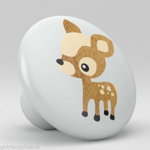 Cute Tan Polka Dot Deer Ceramic Knobs Nursery Pulls Kitchen Drawer Dresser 1094 by gotrendyhome