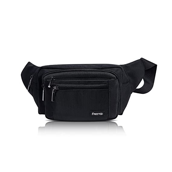 FREETOO Waist Pack Bag Fanny Pack for Men&Women Hip Bum Bag with Adjustable Strap for Outdoors Workout Traveling Casual Running Hiking Cycling (Black) 2 AMPLE ROOM, KEEP ORGANIZED: Well constructed with 5 separate zippered pockets of different sizes for all your needs;The largest pocket can easily hold a standard water bottle (16oz); A small hidden zipper compartment inside the main pocket perfect for your valuables for extra security; A flat zippered exterior pocket located behind the waist band, against your body. Provides spacious storage and help keep you organized while maintaining a slim profile DURABLE MATERIAL&LININGS, WEAR-RESISTANT: Made of strong 1000D Polyester+ Exquisite overall craftsmanship with cleanly finished seams, this waist bag is sturdy and built to last yet soft and pliable. It'll make a great addtion for your daily errands and outdoor activities, perfect for walking, running, biking, hiking, traveling, festivals, fairs, concerts and farmers markets etc. QUALITY SOLID ZIPPERS: ZIPPERS are a very important component of a bag and should never be compromised. This waist pack adopts tough and heavy duty zippers, sturdy,easy to slide and working smoothly. Zipper pulls are good-sized and elegant in design. Worry no more about anything falling out and getting lost.