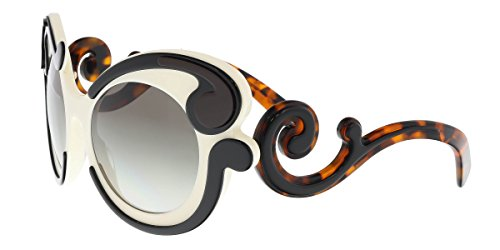 Prada PR 23NS VAJ0A7 Black/Ivory Round Baroque - Round Baroque Sunglasses