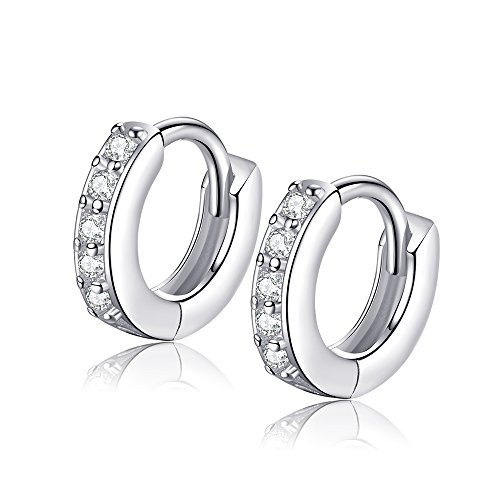 Sterling Silver Tiny Small Hoop Huggie Earrings Ear Cuffs Cartilage Earrings Mricro Pave CZ Earrings 0.8cm (Pave Cuff)