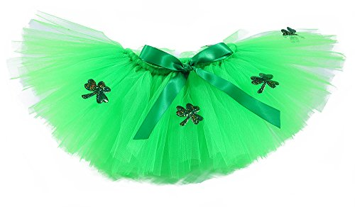 Tutu Dreams Girls St Patricks Day Outfit Shamrock Clover Green Tutu Skirts (Large, St Patrick) -