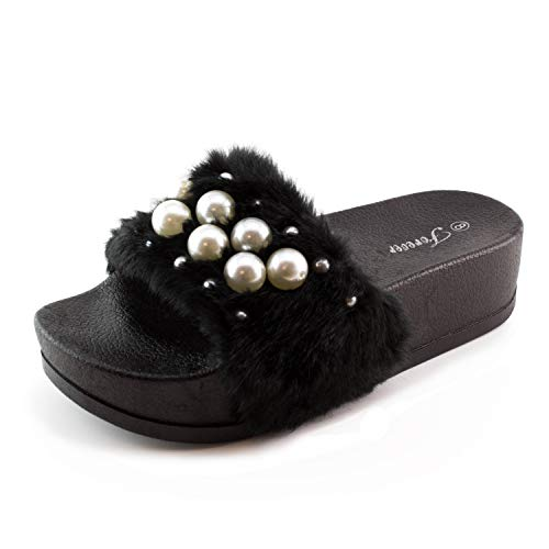 bbc630598148b generation19 Womens Faux Pearl Strap Elevated Platform Fur Slide Sandals  (Black, 7)