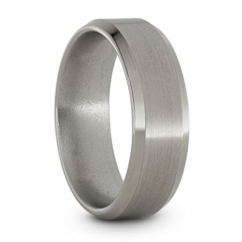 Satin Titanium 7mm Comfort-Fit Beveled Edge Wedding Band, Size 7.5 by The Men's Jewelry Store (Unisex Jewelry)