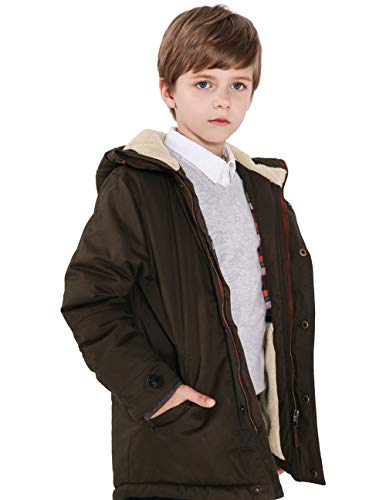 SOLOCOTE Winter Coats for Boys 3-12Y Thick Hooded Lined Jacket Olive Green