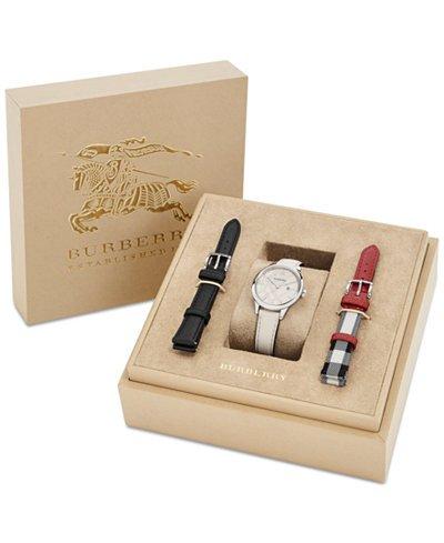 Burberry-Womens-Swiss-White-Fabric-Strap-Watch-Interchangeable-Straps-Box-Set-32mm-BU10112