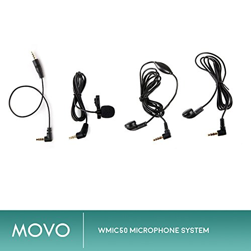 Movo WMIC50 2.4GHz Wireless Lavalier Microphone System with Integrated 164-foot Range Antenna (Includes Transmitter with Belt Clip, Receiver with Camera Shoe, Lavalier and 2 Earphones) by Movo (Image #5)