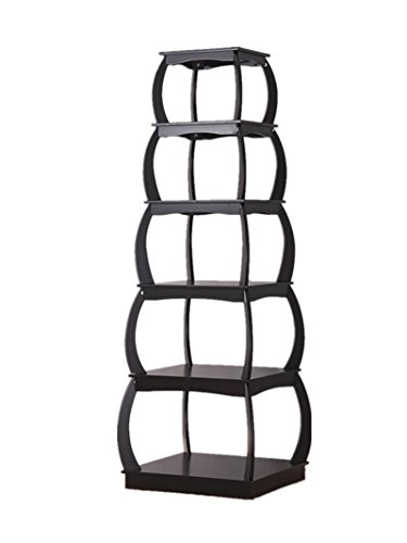 Mixcept 66'' Wooden Multi-functional Display Shelf Bookshelf 5 Tier Bookcases Storage Rack Shelving Unit Collection Shelf, Black by Mixcept