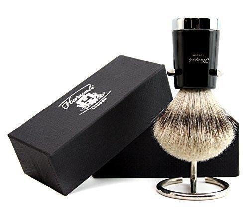 Hombre Brocha de afeitar calidad plata punta pelo de tejón brocha de afeitar (incluye brocha de afeitar soporte/soporte Haryali London