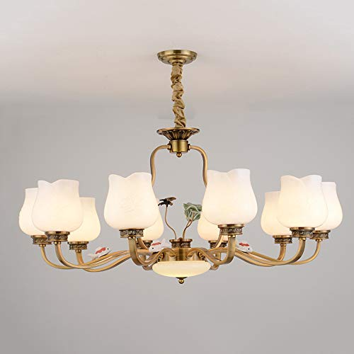 Chinese Chandeliers Modern LED E27 Wrought Iron Pendant Light Fixture Creative Gold Bronze Hanging Lamp for Living Room Hotel Hallway Foyer Entry Way Romantic Decor,10light