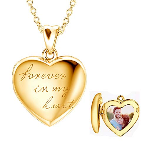 925 Sterling Silver Personalized Locket Necklace Picture Locket Necklace Photo Heart Locket Pendant Necklace, Forever in My Heart Engraved Any Name Word Symbol Date Number (Locket + Photo (Gold))