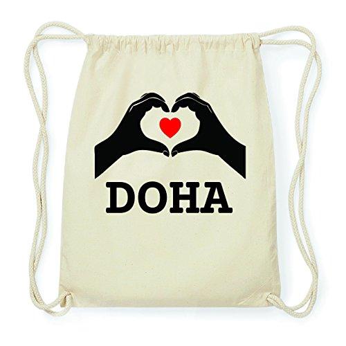 JOllify DOHA Hipster Turnbeutel Tasche Rucksack aus Baumwolle - Farbe: natur Design: Hände Herz