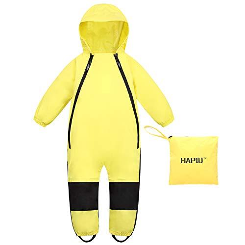 HAPIU Kids Toddler Rain Suit Muddy Buddy Waterproof Coverall,Yellow,18M,Original
