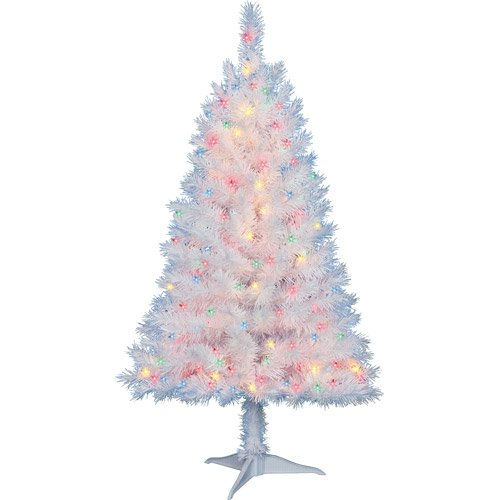 4 Ft. Pre-Lit Multi Color White Indiana Spruce Artificial Christmas Tree by Holiday (Lit White Spruce Christmas Tree)