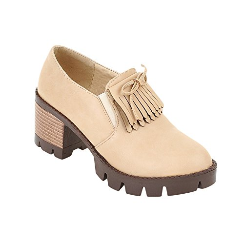 Latasa Womens Tassel Chunky Heels Slip on Loafers Shoes Beige c3XuQAGfgG