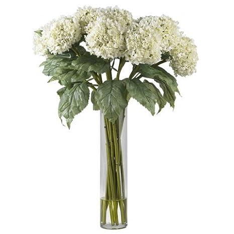 Amazon Nearly Natural White Hydrangea Silk Flower Arrangement