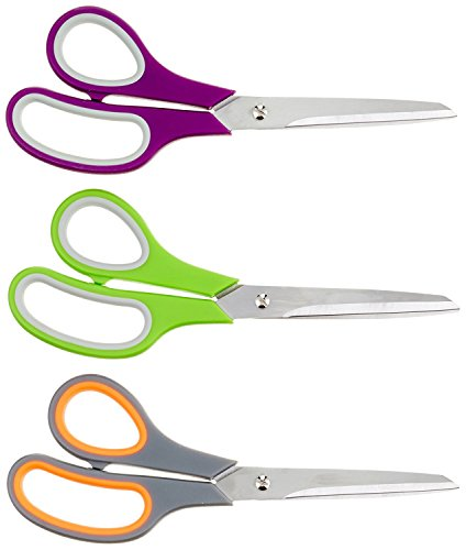 Office Basiks Multipurpose Scissors Assorted Color for Office, Classroom, and More - 3-Pack ()