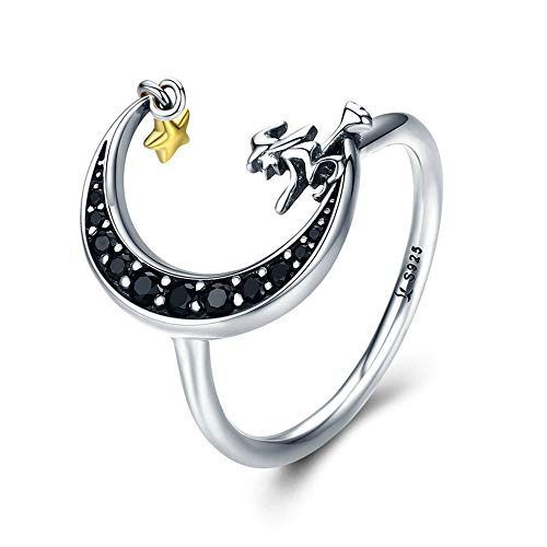Dainty Crescent Moon Star Rings Sterling Silver Black CZ Magic Witch Expandable Wedding Band Ring for Women Girls (8) ()