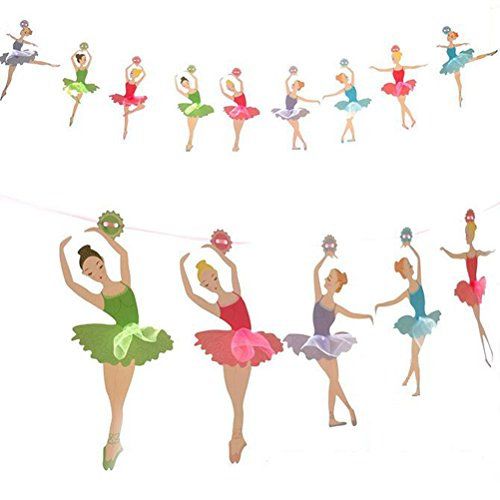 Tinksky Ballet Dancer Banner Party Garland Bunting Banner for Wedding Bridal Shower Favors Decorations Party Supplies -