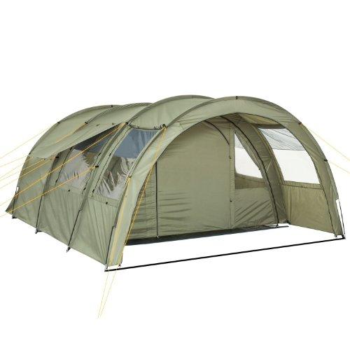 CampFeuer - Tunnelzelt mit 2 Schlafkabinen, olivgrün, 5000 mm Wassersäule, mit Bodenplane und versetzbarer Vorderwand
