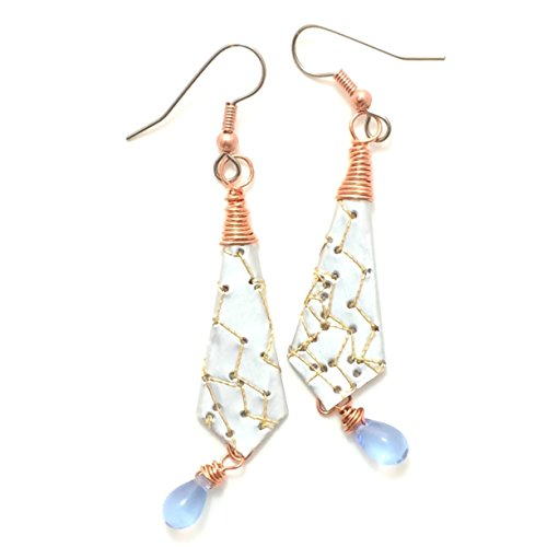 titched Soda Can Earrings with Copper Wire and Light Blue Czech Glass Briolettes ()