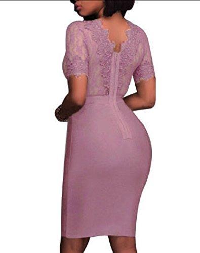 V Purple Sexy Out Dress Hollow Neck Club Womens Jaycargogo Party Dress Lace Deep gHvw7xWqt