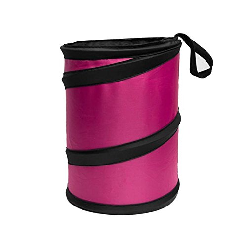 FH GROUP FH1120PINK Auto Car Trash Can Portable Collapsible Car Trash Can Waterproof Garbage Container Small, Pink Color