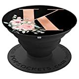 Rose Gold Popsockets Grip Monogram Letter K Pink Flowers - PopSockets Grip and Stand for Phones and Tablets