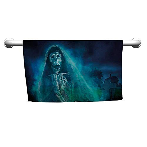 flybeek Style Towel Skull Decorations,Gothic Dark Background with a Dead Ghost Skull Skeleton Mystical Haunted Horror Halloween Theme,Blue,Beach Towel for Kids -