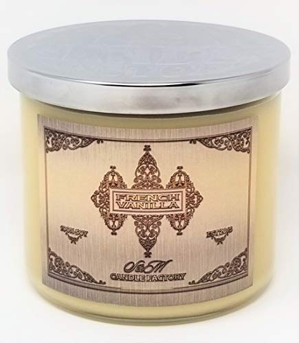 S&M Candle Factory French Vanilla Candle ~ 3 Wick Scented Soy Wax 14.5oz Candle ~ 80 Hour Burn Time ~ Made in USA (14.5oz Cream)